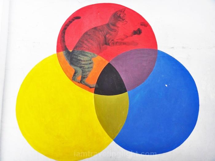 Rat, Cat Venn Diagram, circles, Penang Street Art, Malaysia