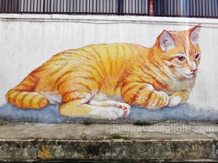 Skippy, rescued cat, street art Penang, Malaysia