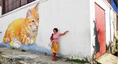 Skippy, rescued cat, with rat, street art Penang, Malaysia CROPPED
