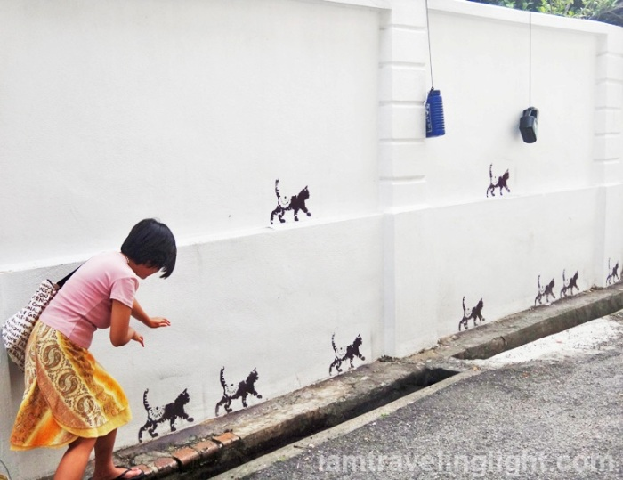trailing, following the cats, Penang street art, Malaysia, 101 lost kittens project