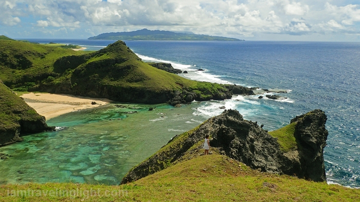 Batanes, Sabtang, rugged rock formations, close green hills, cliffs, overlooking sea, beach, white sand.jpg