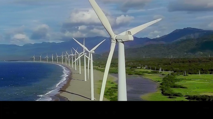 Bangui windmills, drone shot, from PAL Philippine Airlines inflight safety video.jpg