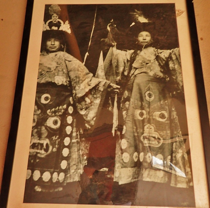 Leh Palace exhibit, Ladakh, India, Kashmir, Black Hat temple dancers from Tibet, Tse Choling monastery,.jpg