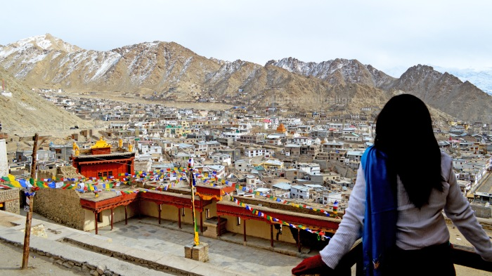 Leh Palace, overlooking view of Leh town, colorful prayer flags, Ladakh, snowcapped mountains, Himalayas, landscape, India