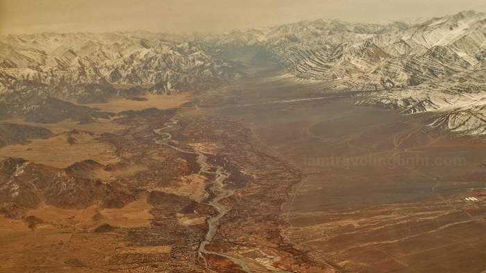 Leh town, river from above, Himalayas mountain range, snowcapped mountains, winter, view from the plane, flight to Leh Ladakh, Kashmir, from New Delhi, India.jpg