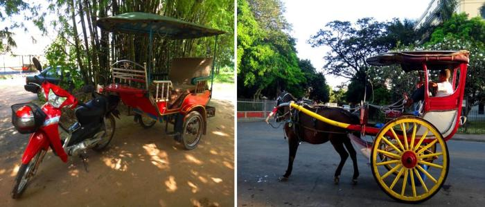 Tuktuk side-by-side or versus calesa or horse-drawn carriage, Siem Reap, Cambodia and Manila, Philippines