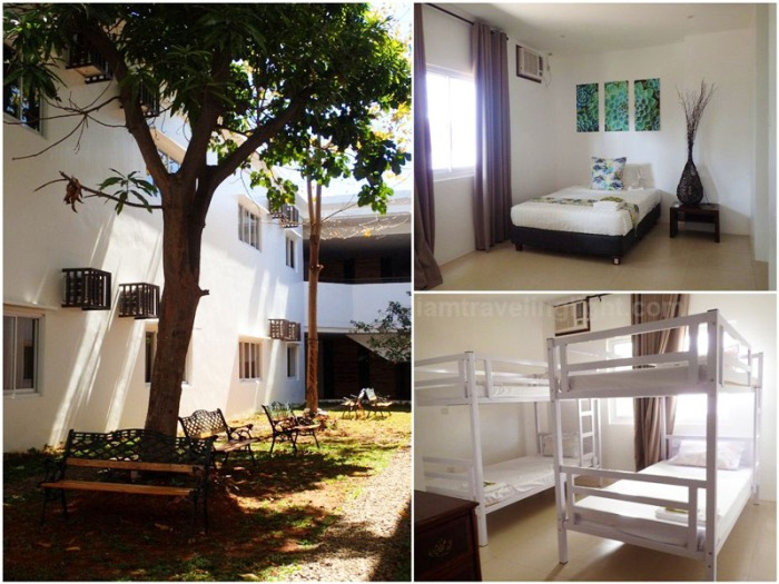 Dormitory by Oriental Bataan hotel, Mariveles, dorm beds, single rooms, courtyard, garden, Export Processing Zone