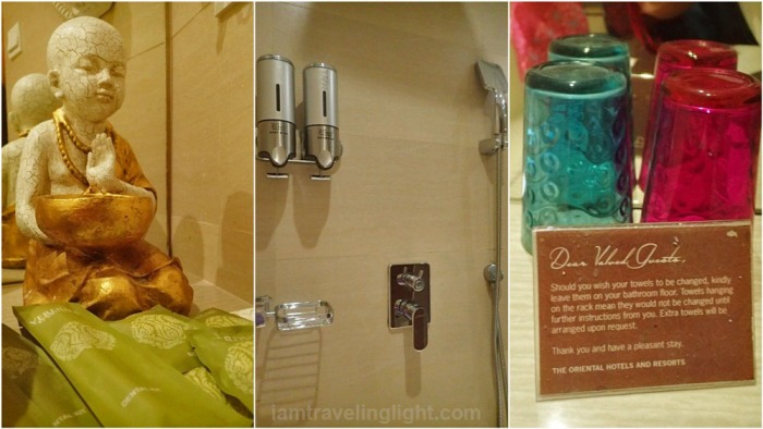 Oriental Bataan, hotel, Mariveles, poolside room, courtyard, toiletries, Buddha soap dish, glasses, Export Processing Zone