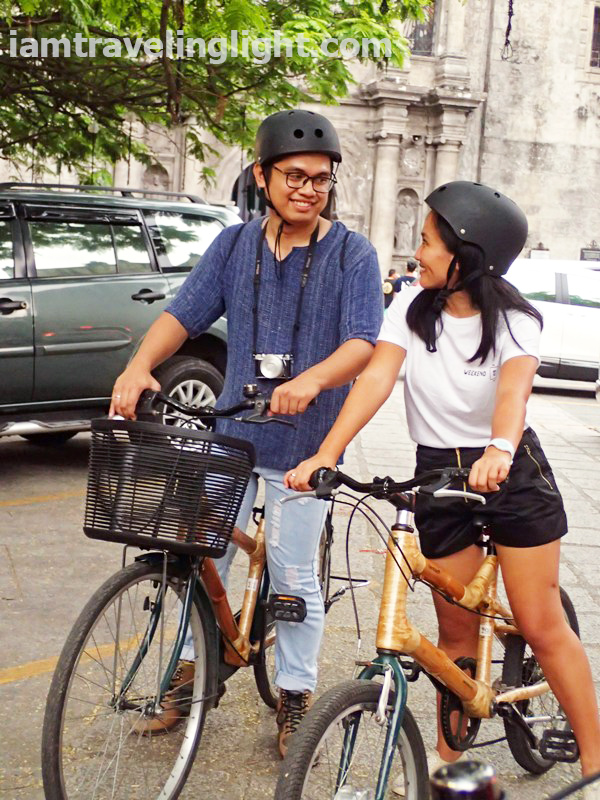 Bambike, couple, San Agustin Church, bamboo bike tour, eco-friendly tour, Intramuros, Manila.JPG
