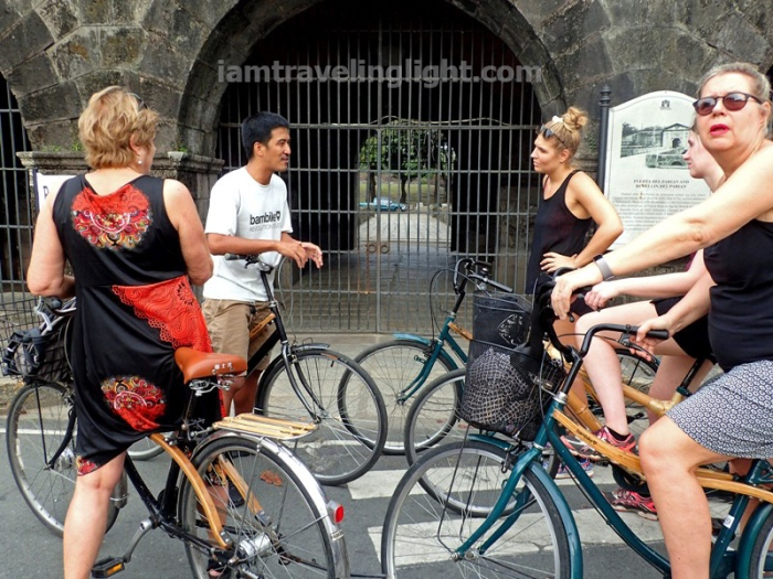 Bambike, guide explaining, bamboo bike tour, eco-friendly tour, Intramuros, Manila.JPG