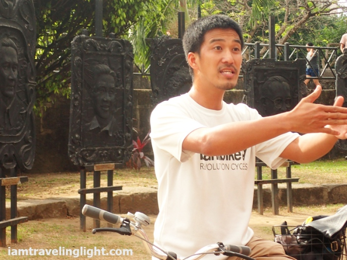 Bambike guide explaining, bamboo bike tour, eco-friendly tour, Intramuros, Manila.JPG