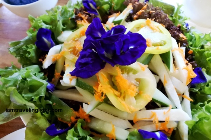 fresh salad, butterfly pea flower, ternate, Mariano's Blooming Petals, Mirasol Cafe, Tupi, South Cotabato