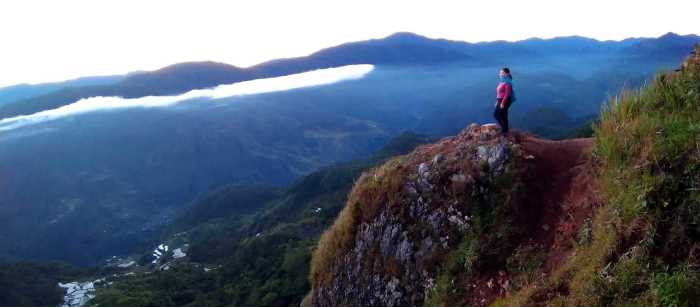 overlooking, mist, cliff, rice terraces, Marlboro Hills, Sagada
