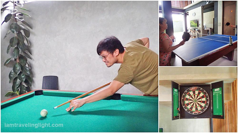 billiards, table tennis, darts, games, Casa Tropica, Pansol, Laguna hot spring, resort, pool