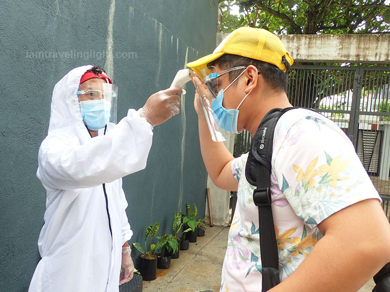 COVID safety protocol entry with PPE and temperature check, COVID safe travel, pool, hot spring resort, Casa Tropica, Pansol, Laguna